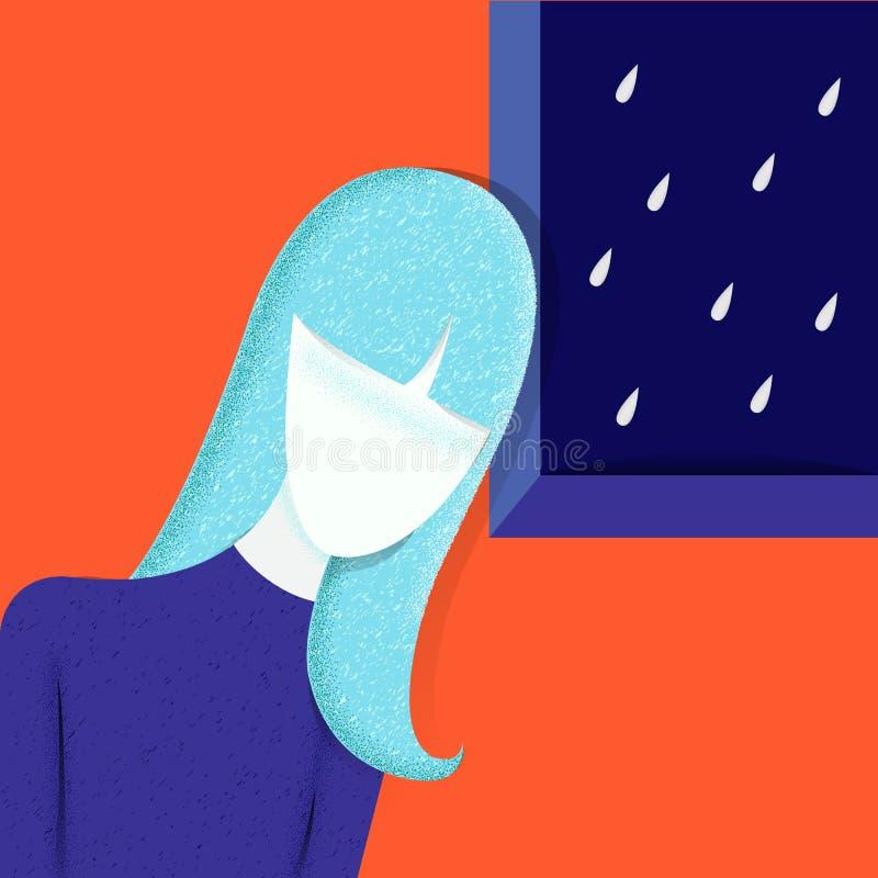 Adolescente triste et malheureuse, pluie de maison de jeune femme Concept de dépression Fille déprimée et malheureuse, nuage de p illustration de vecteur