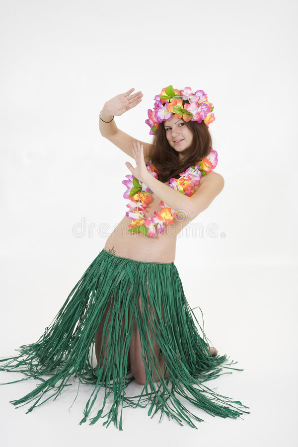 Adolescente vestido como muchacha de Hula fotografía de archivo libre de regalías