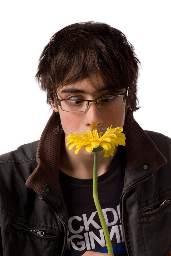 Adolescente in vetri che sentono l'odore del fiore giallo fotografie stock libere da diritti