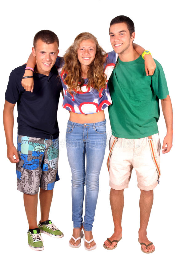 Adolescente y muchachos imagen de archivo