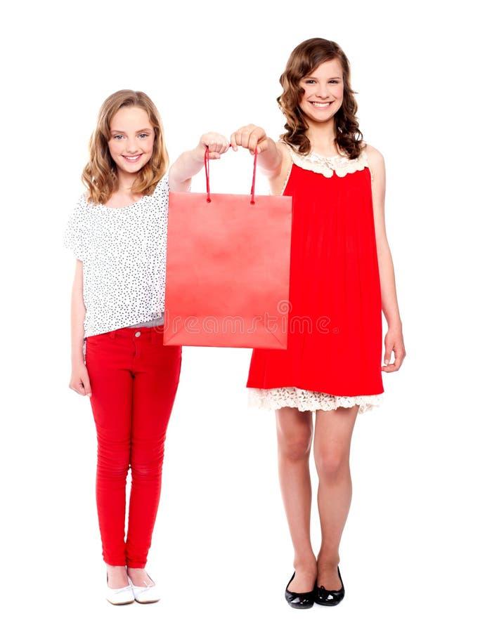 Adolescentes bonitos que prendem o saco de compra fotos de stock