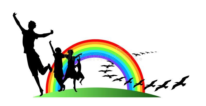 Adolescentes com arco-íris ilustração stock