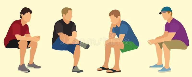 Adolescentes de assento ilustração stock