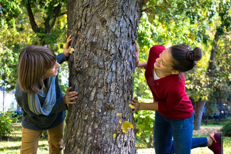 Adolescentes despreocupados que têm o divertimento ao jogar em torno da árvore fotos de stock