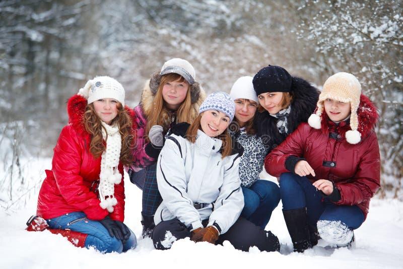 Adolescentes em um parque do inverno imagem de stock