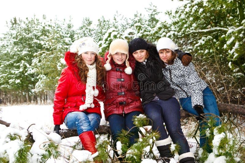 Adolescentes em um parque do inverno fotografia de stock royalty free