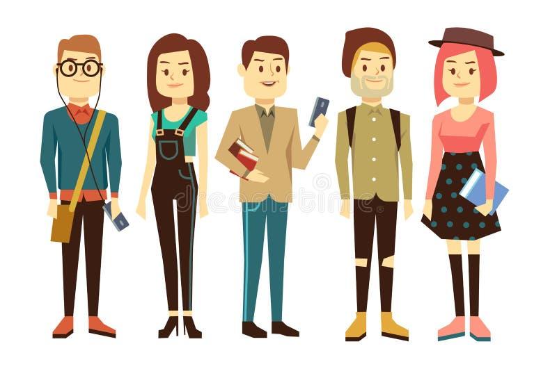 Adolescentes, estudiantes con los artilugios y caracteres del vector de los libros fijados stock de ilustración