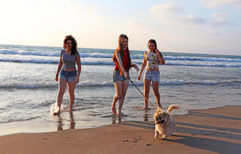 Adolescentes felizes no mar imagens de stock