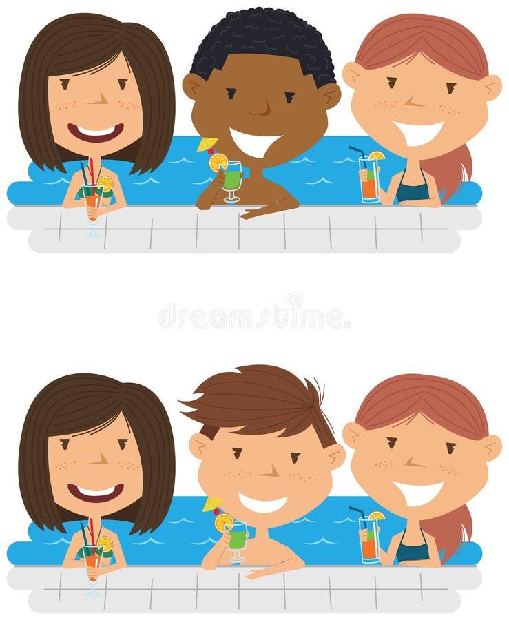 Adolescentes multirraciais novos que relaxam e que bebem cocktail no s ilustração stock