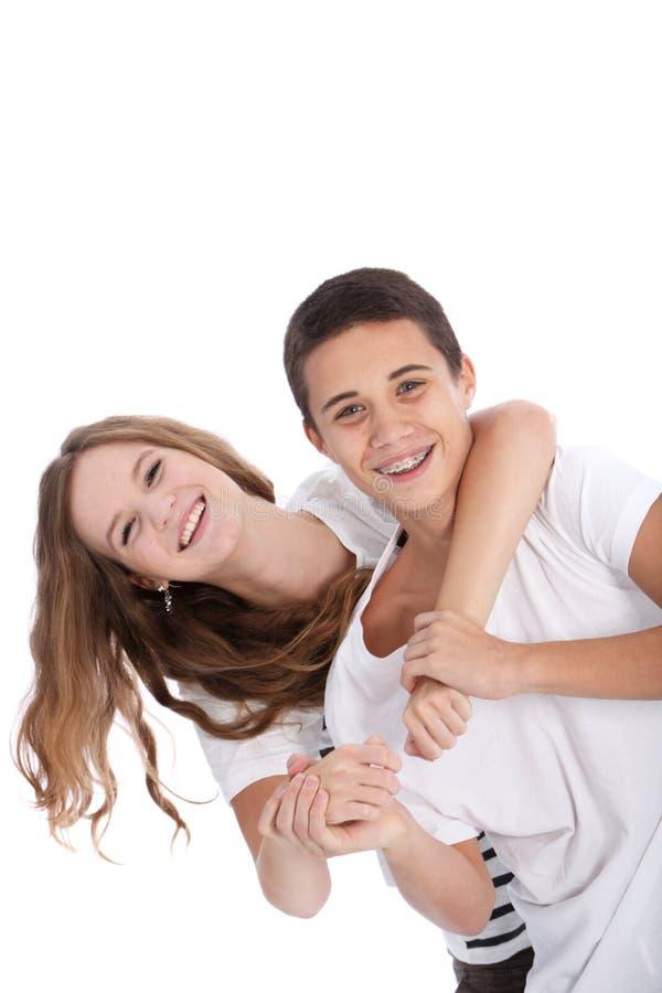 Adolescentes novos de riso que têm o divertimento imagem de stock royalty free