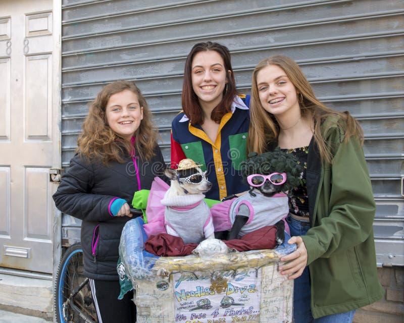 Adolescentes posant pour une donation avec la diva et le Chloe à Philadelphie du sud photographie stock libre de droits
