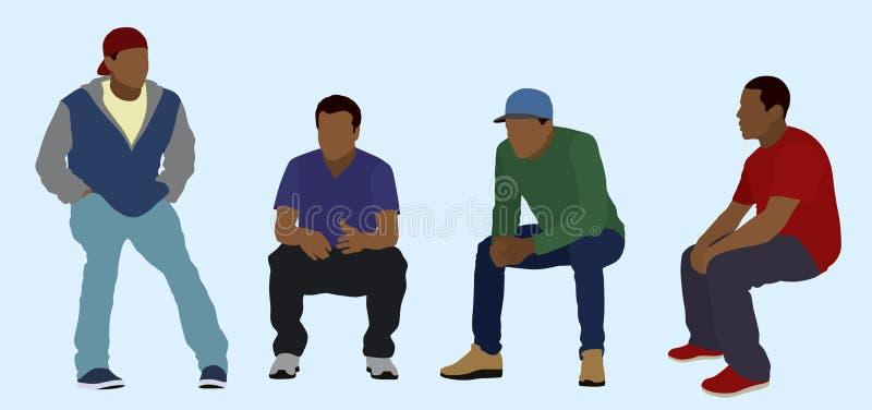 Adolescentes pretos assentados ilustração do vetor