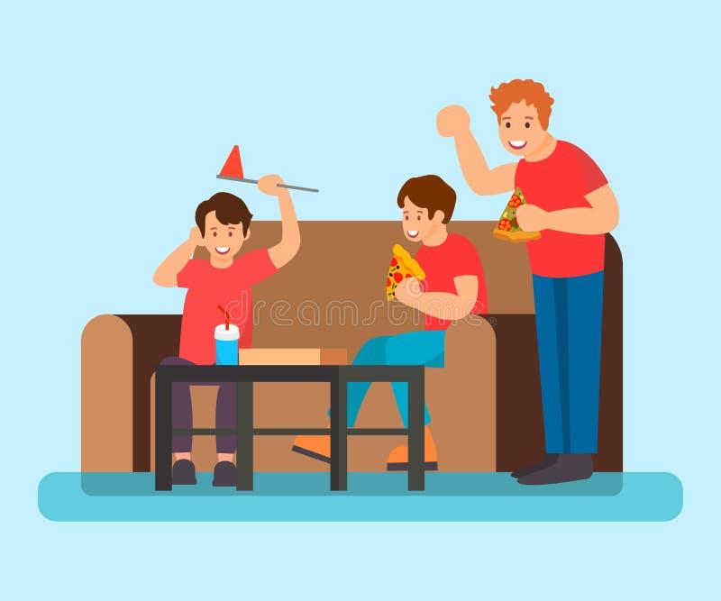Adolescentes que comen el ejemplo plano del vector de la pizza stock de ilustración