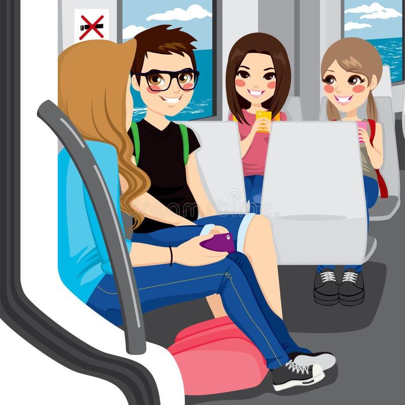 Adolescentes que comutam pelo trem ilustração royalty free