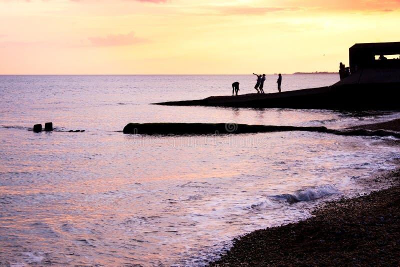 Adolescentes que jogam no unset na borda das águas imagens de stock royalty free
