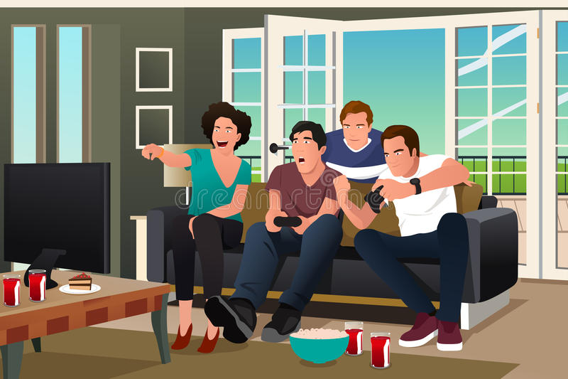 Adolescentes que juegan al videojuego ilustración del vector