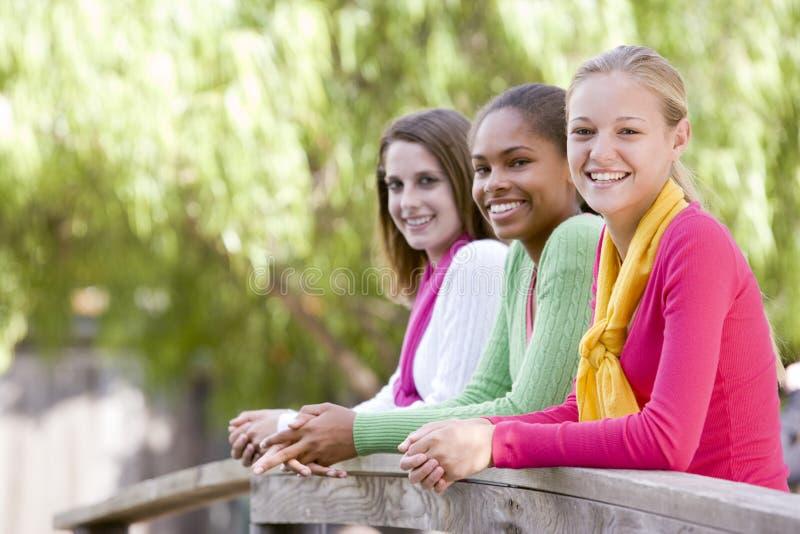 Adolescentes que se inclinan en el pasamano de madera fotografía de archivo
