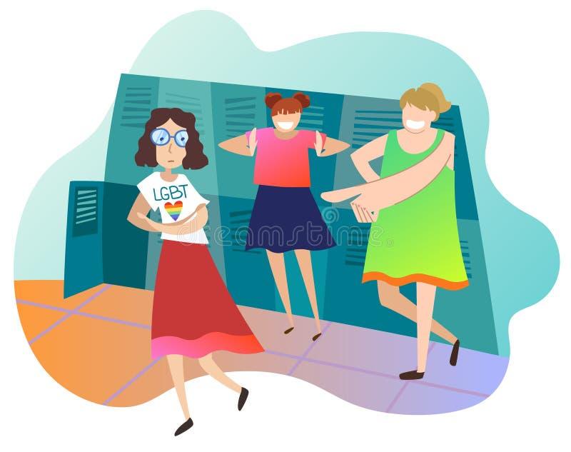 Adolescentes que zombam o colega fêmea na escola A estudante é lésbica Conceito da infração dos direitos de LGBT ilustração stock