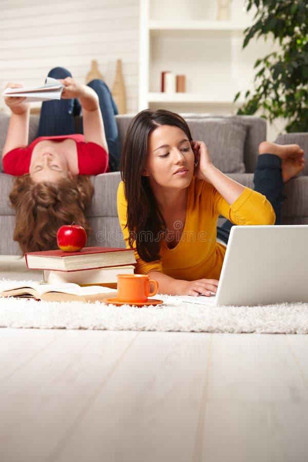 Adolescenti che studiano nel paese immagini stock