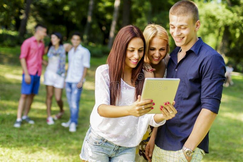 Adolescenti con la compressa nel parco fotografia stock