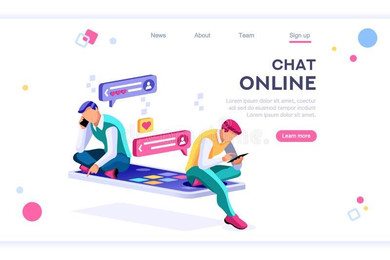 Adolescenti di datazione sociali online concetto illustrazione di stock