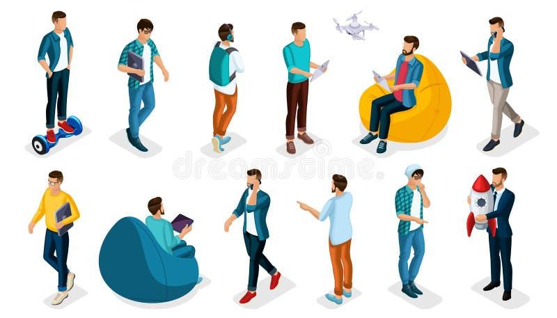 Adolescenti isometrici d'avanguardia della gente, della persona 3d, giovani moderni e aggeggi di vettore, free lance, partenza, c royalty illustrazione gratis