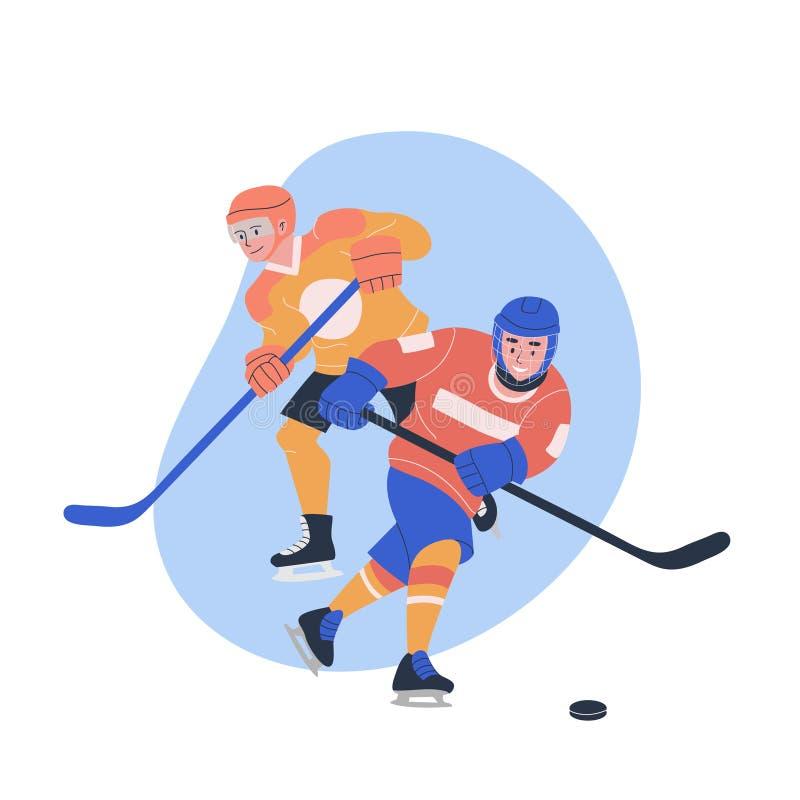 Adolescenti maschii che giocano il gioco di hockey su ghiaccio royalty illustrazione gratis