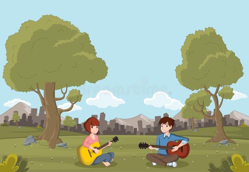 Adolescents de bande dessinée jouant la guitare illustration de vecteur