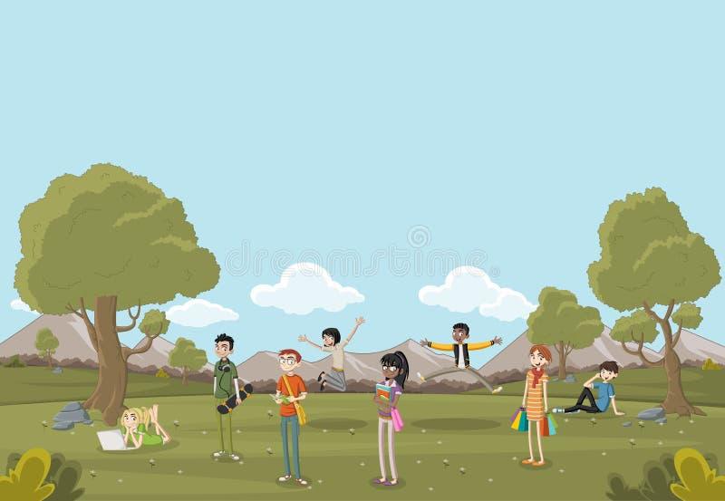 Adolescents de bande dessinée sur le beau parc illustration stock