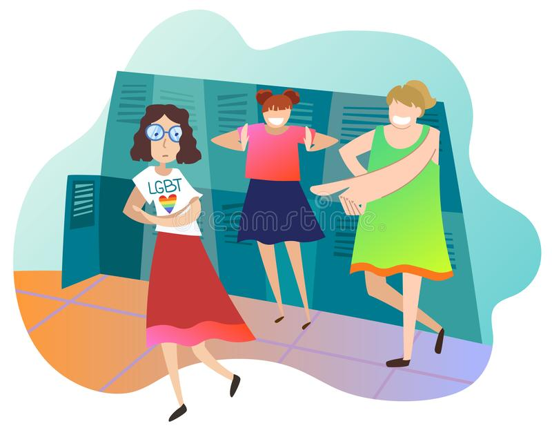 Adolescents raillant le camarade de classe féminin à l'école L'étudiante est lesbienne Concept de l'infraction aux droites de LGB illustration stock