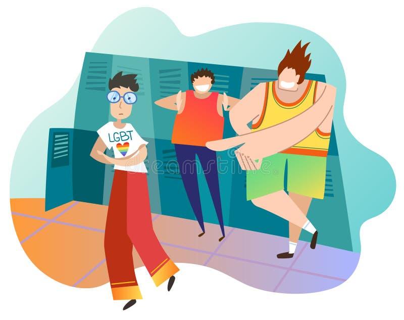 Adolescents raillant le camarade de classe féminin à l'école L'adolescente est lesbienne Concept de l'infraction aux droites de L illustration libre de droits