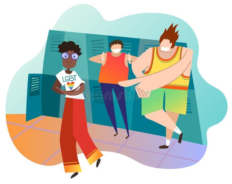 Adolescents raillant le camarade de classe féminin à l'école La fille afro-américaine est lesbienne Concept de l'infraction aux d illustration stock