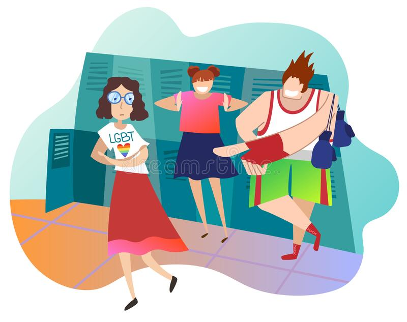 Adolescents raillant le camarade de classe féminin à l'école La fille caucasienne est lesbienne Concept de l'infraction aux droit illustration libre de droits