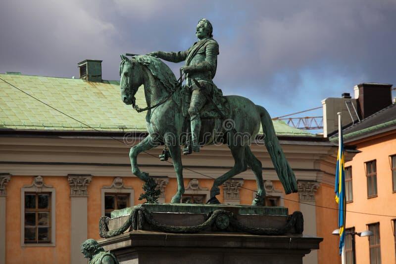 adolf ・ gustav ii国王雕象瑞典 免版税库存图片
