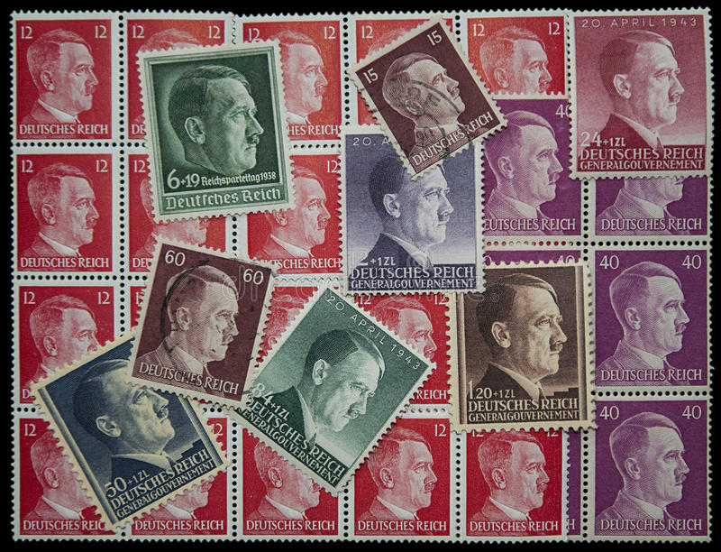 Adolf Hitler poczta znaczki fotografia stock