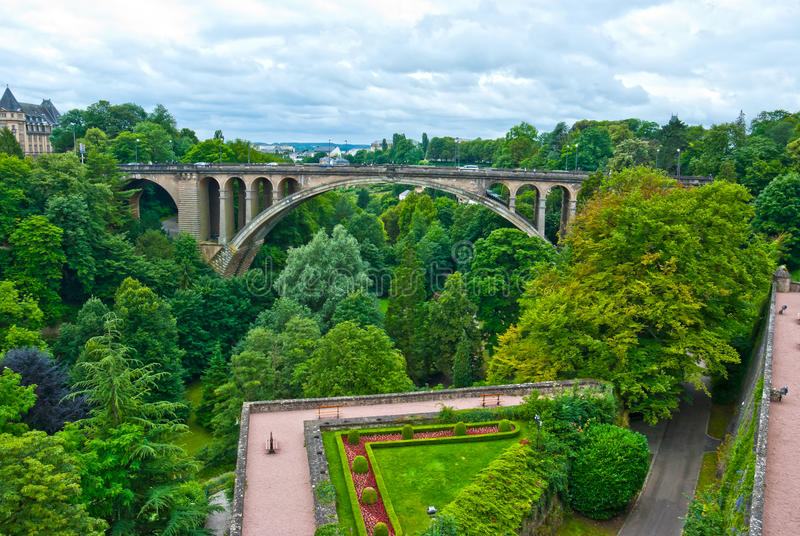 Adolphe Bridge, Luxembourg. Adolphe Bridge is an arch bridge in Luxembourg City, in southern Luxembourg. Adolphe Bridge has become an unofficial national symbol royalty free stock image