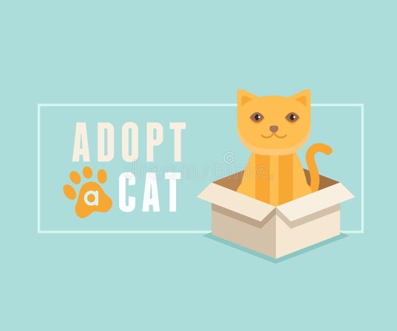 Adopt a cat banner design royalty free illustration