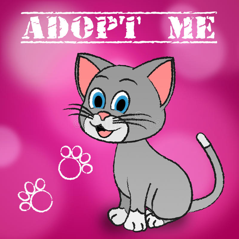 Adopt Cat Indicates Adoption Felines And Pet. Adopt Cat Meaning Felines Kitty And Pedigree stock illustration
