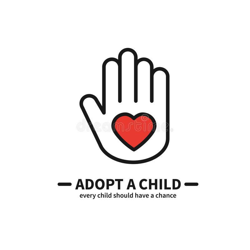 Adopt a Child. Hand with Heart Line Icon. Volunteer Help Care Protection Support Theme. Child Adoption Sign and Symbol. Adopt a Child. Hand with Heart Line Icon vector illustration