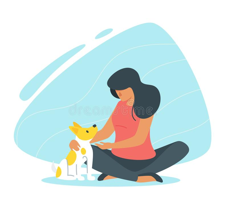 Adopt a dog concept. Adopt a pet concept with woman and her dog. Vector illustration isolated on white background stock illustration