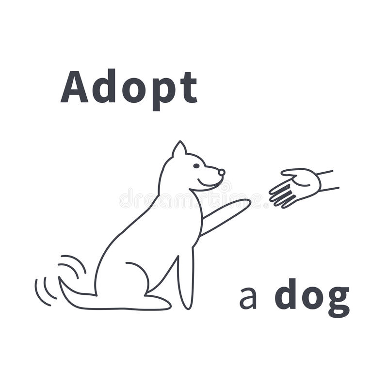 Adopt a dog. Hand stretched to the dog. Dog gives paw. Do not buy, adopt. Good hands for dog. Dog adoption concept. Vector line icon isolated on white background royalty free illustration