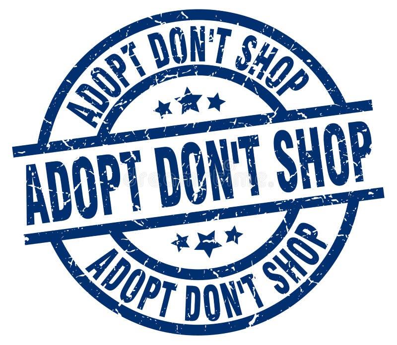 Adopt don`t shop blue round grunge stamp vector illustration