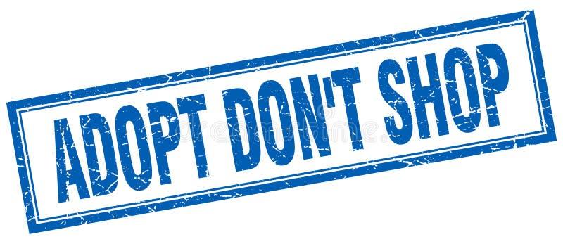 Adopt don`t shop blue square grunge stamp. On white stock illustration