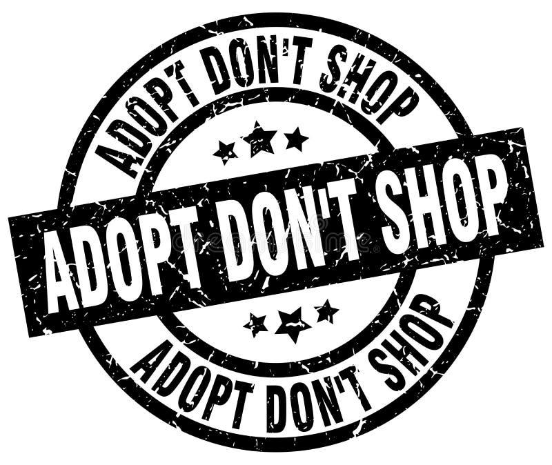 Adopt don`t shop round grunge black stamp royalty free illustration