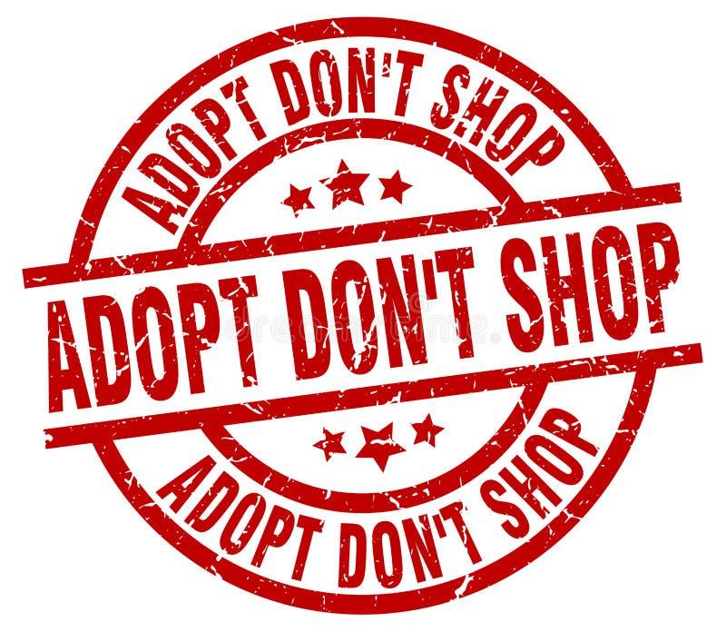 Adopt don`t shop round grunge stamp. Adopt don`t shop round red grunge stamp royalty free illustration