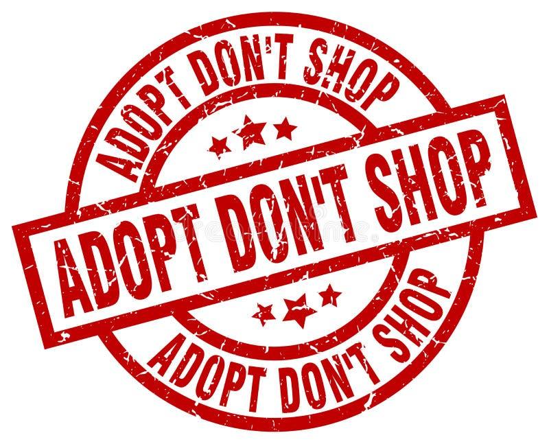 Adopt don`t shop round red grunge stamp stock illustration