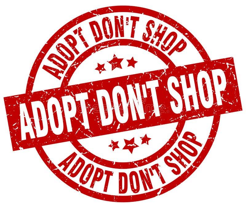Adopt don`t shop round red stamp. Adopt don`t shop round red grunge stamp royalty free illustration