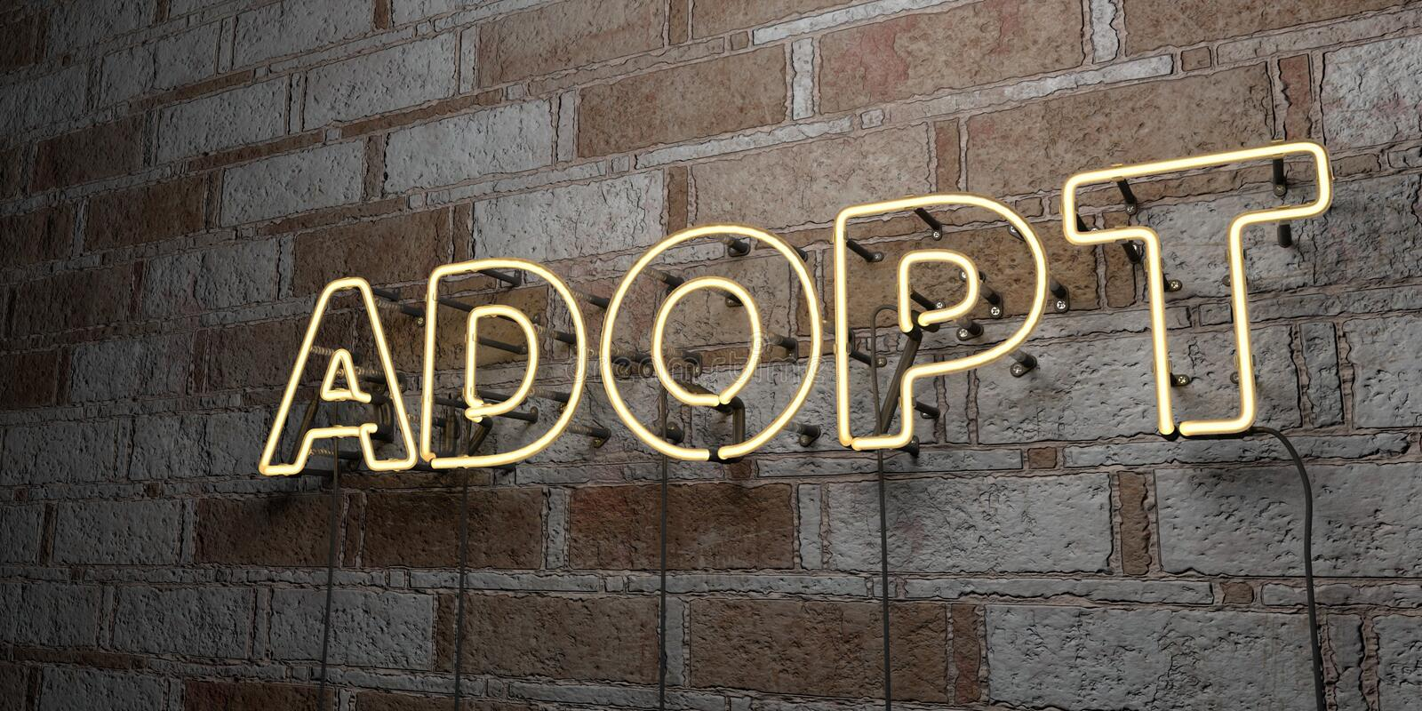 ADOPT - Glowing Neon Sign on stonework wall - 3D rendered royalty free stock illustration. Can be used for online banner ads and direct mailers royalty free illustration