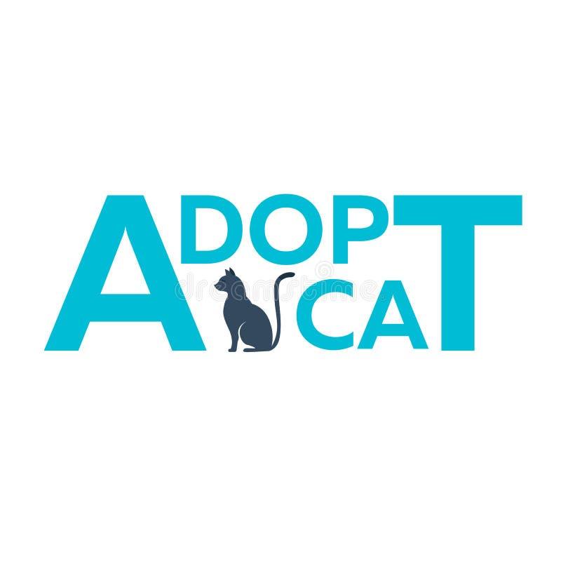 Adopt logo. Dont shop, adopt. Cat adoption concept. Vector illustration. royalty free illustration