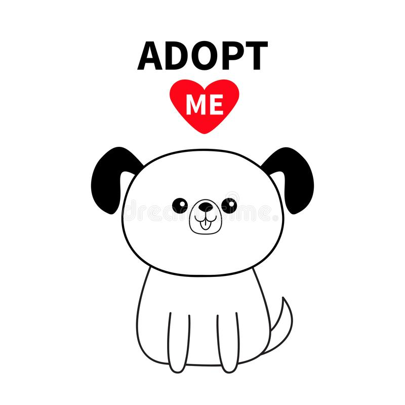 Adopt me. Contour sitting dog silhouette. Red heart. Pet adoption. Kawaii animal. Cute cartoon pooch character. Funny baby puppy . royalty free illustration